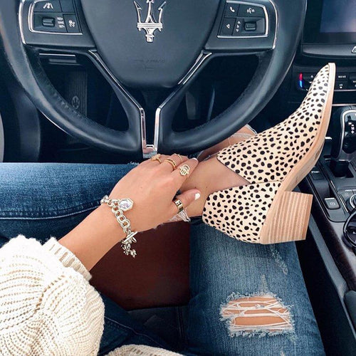 Leopard Chunky Heel Slip On Ankle Boots