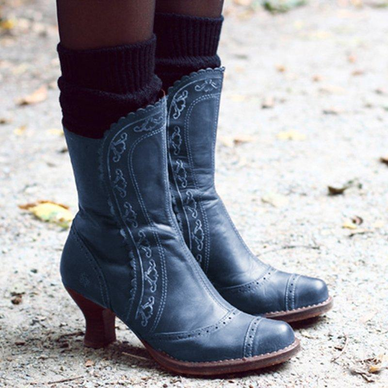 Women's Vintage Thick Ankle Booties
