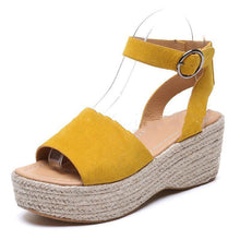 Load image into Gallery viewer, Women's Open Toe Wedge Heel Buckle Strap Sandals