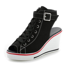Load image into Gallery viewer, Canvas High Shoes Adjustable Buckle Peep Toe Creepers