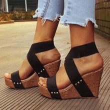 Load image into Gallery viewer, Women Wedge Heel Sandal Peep Toe Elastic cloth Cross Bandage Sandals