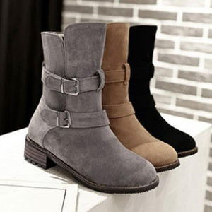 Women's Casual Slip-On Low Heel Boots