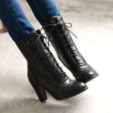 Load image into Gallery viewer, Women's High Heel Lace-Up Boots