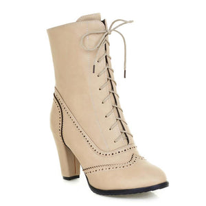 Women's High Heel Lace-Up Boots