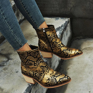 Snake Print Pointed Toe Booties Side Zipper Women Boots