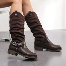 Load image into Gallery viewer, Woman Vintage Casual Slouch PU Buckle Chunky Heel Knee Boots