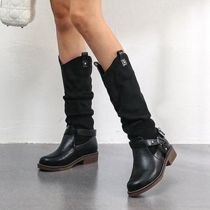 Woman Vintage Casual Slouch PU Buckle Chunky Heel Knee Boots