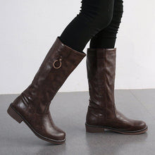 Load image into Gallery viewer, Woman Vintage Casual PU Ring Chunky Heel Knee Boots