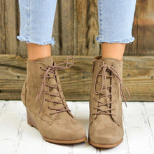 Load image into Gallery viewer, Lace-Up Stacked Wedge Booties Comfort Ankle Boots with Zipper