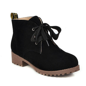 Woman Vintage Lace-Up Solid Flock Low Heel Round Toe Combat Boots