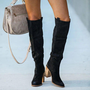 Women Fall Chunky Heel Faux Suede Long Boots