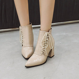 Lace-Up PU Chunky Heels Daily Ankle Boots
