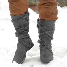 Load image into Gallery viewer, Womens  Plus Size Flat Heel Artificial Leather Winter Boots
