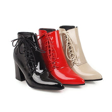 Load image into Gallery viewer, Lace-Up PU Chunky Heels Daily Ankle Boots