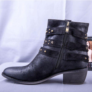 Women Chunky Heel Rivet Winter Ankle Boots