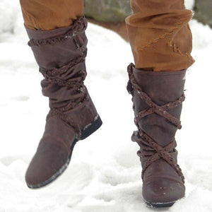 Womens  Plus Size Flat Heel Artificial Leather Winter Boots