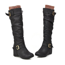 Load image into Gallery viewer, Wedge Heel Split Joint Casual Winter Long Boots