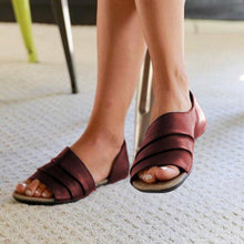 Load image into Gallery viewer, Women Ruffles Pu Slip-on Casual Flat Sandals