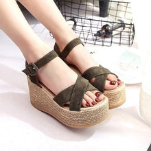Load image into Gallery viewer, Casual Adjustable Buckle Wedge Heel Sandals