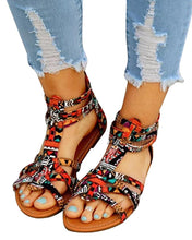 Load image into Gallery viewer, Suede Multi-Strap Crisscross Flat Sandals