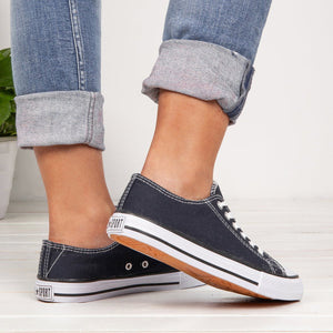 Womens Simple Casual Canvas Lace-Up Sneakers