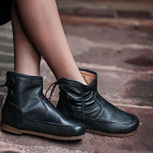 Comfy Low Heel Round Toe Lace-Up Ankle Boots Womens Plus Size Shoes