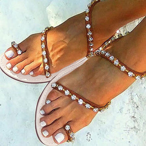 Brown PU Flat Heel Holiday Rhinestone Sandals