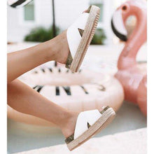 Load image into Gallery viewer, Women Plus Size Peep Toe Platform Sandals Slip-On Slippers