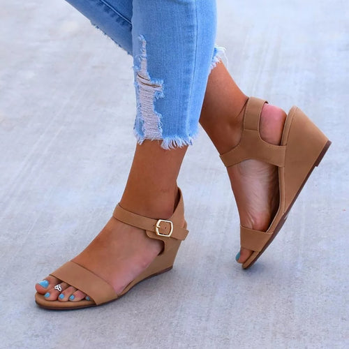 Plus Size Wedge Sandals Open Toe Ankle Buckle Belt Sandals