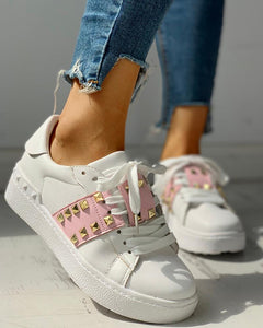 Colorblock Studded Lace-Up Casual Sneakers