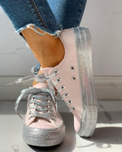 Load image into Gallery viewer, Glitter Casual Lace-Up Sneakers