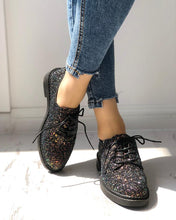Load image into Gallery viewer, Glittering Sequined Round Toe Lace-up Sneakers
