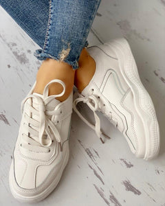 Solid Lace-Up Patchwork Casual Sneakers