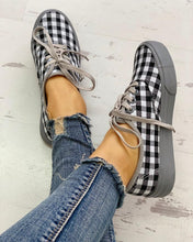 Load image into Gallery viewer, Plaid Insert Lace-Up Casual Sneakers