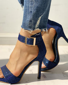 Glitter Ankle Buckled Thin Heeled Sandals