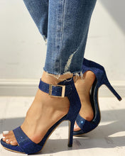 Load image into Gallery viewer, Glitter Ankle Buckled Thin Heeled Sandals