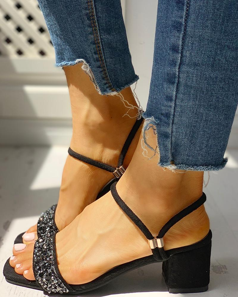Suede Studded Chunky Heeled Sandals