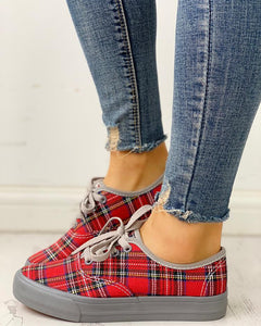 Plaid Insert Lace-Up Casual Sneakers