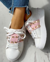 Load image into Gallery viewer, Colorblock Studded Lace-Up Casual Sneakers