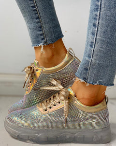 Studded Lace-Up Casual Platform Sneakers