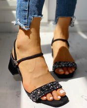 Load image into Gallery viewer, Suede Studded Chunky Heeled Sandals