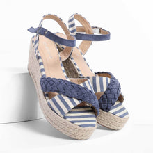 Load image into Gallery viewer, Stripes Espadrilles Sandals Buckle Strap Wedge Sandals