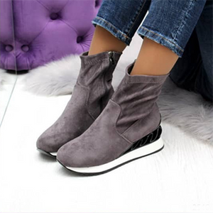 Wedge Platform Comfy Faux Suede Zipper Boots All Season Shoes