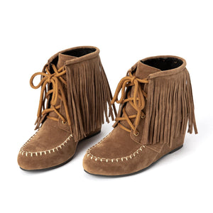 Women Lace-Up Winter Tassel Suede Boots