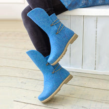 Load image into Gallery viewer, Women Winter Elastic Band Woolen Mid-Calf Boots