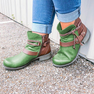 Color Block Strappy Boots Fashion Low Heel Artificial Leather Zipper Boots