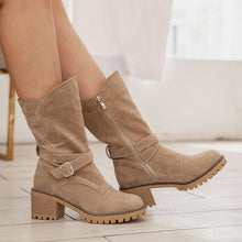 Load image into Gallery viewer, Women Winter Suede Slip-On Button Boots