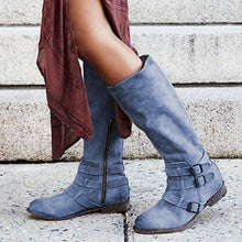 Load image into Gallery viewer, Low Heel Adjustable Buckle Artificial Leather Mid-Calf Boots