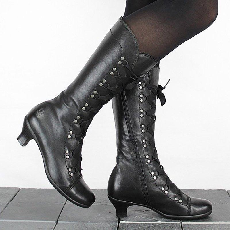 Women Vintage Lace Up Soft Leather Mid-Calf Boots