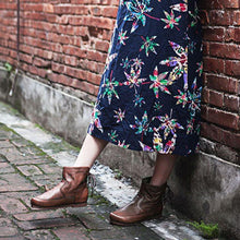 Load image into Gallery viewer, Comfy Low Heel Round Toe Lace-Up Ankle Boots Womens Plus Size Shoes